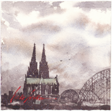 651_Cologne Cathedral and Hohenzollernbrücke with grey skyes_2019_13x13cm_300 dpi