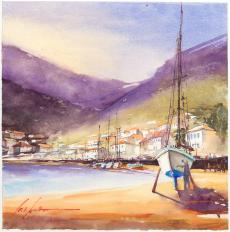 623_when day begins at the habour_36x36cm_2019